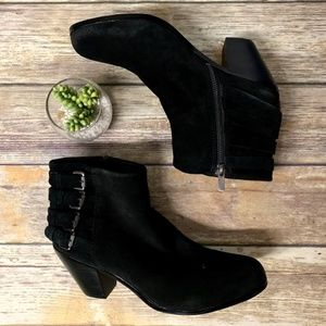 Sam Edelman LUCCA Black Suede Leather Ankle Boots